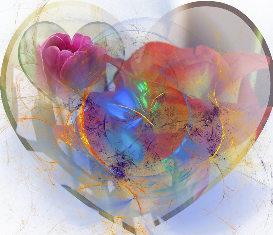 Graphic representation of an artistic and colorful heart